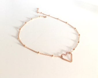 Rose Gold Filled Satellite Chain Hammered Heart Choker, Rose Gold Filled Heart Necklace, Wedding Jewelry, Gold Filled Heart Choker