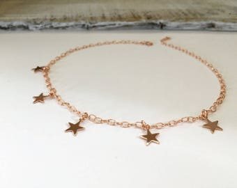 Rose Gold Filled Star Choker Necklace, Sterling Silver Star Necklace, 14kt Gold Filled Star Choker Necklace, Wedding Jewelry