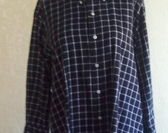 1990s Reworked Ralph Lauren Grid Print Shirt dress A Line Swing Oversized Urban Street Vintage