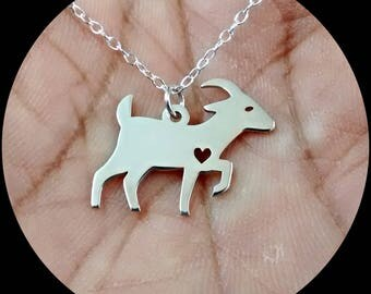 Goat Necklace - Engrave Pendant - Sterling Silver Jewelry - Gold Jewelry - Rose Gold Jewelry - Personalized Pet Jewelry - Animal Charm