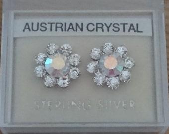 Vintage sterling silver Austrian crystal earrings