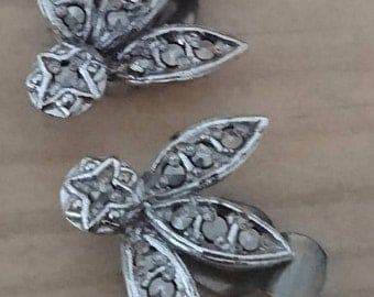 Vintage clip on marcasite earrings