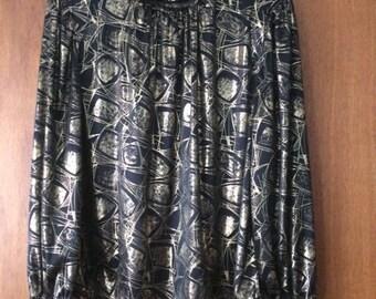 Vintage Women's Lauren Lee Long Sleeve Gold Black Liquid Print Blouse L