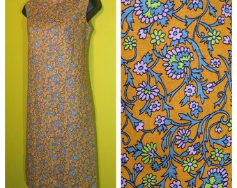Vintage '60s Orange Floral Shift Dress, Size S