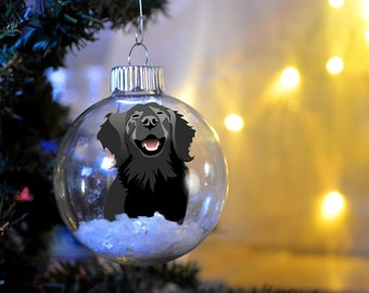 Flat-Coated Retriever Christmas personalized ornament floated glass bulb dog gift memorial