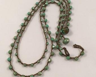 Green Czech Bead Crochet Necklace