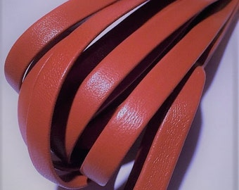 Pre Cut, No Joins, Burnt Orange Genuine Nappa 10mm Leather Cord,  Leather Bracelet Finding, Jewelry Supplies