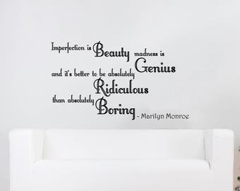 Wall Decals Quotes - Imperfection is Beauty madness is Genius Marilyn Monroe Quote Decal Vinyl Sticker Bedroom Home Decor Mural V932