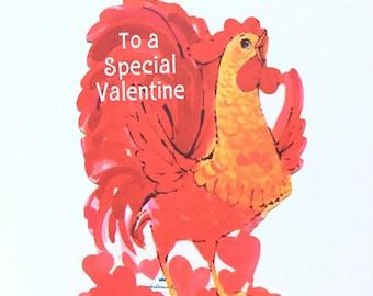 Vintage Valentine's Day Card / Vintage Valentine / Rooster Valentine / Greeting Card / Scrapbook Supply / Paper Ephemera