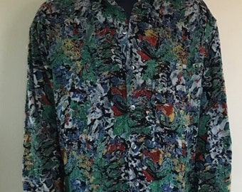 90s Corduroy Button Up All Over Print Shirt