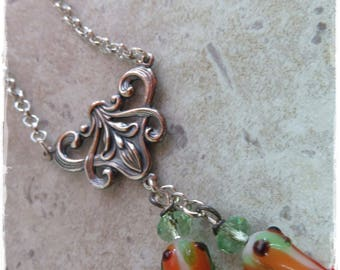 Art Nouveau style Rose necklace, Glass Rose necklace,