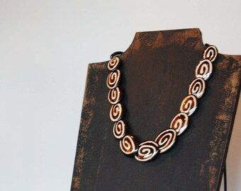 Chic Spiral Necklace - Tibetan Beads - Long Classic Statement Chunky Jewelry - Brown White Circular Swirls