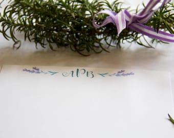 Lavender Stationery Horizontal // Personalized Stationery // Set of Cards