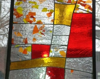 Stained glass panel/window with confetti glass