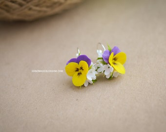 Yellow pansies earrings, polymer clay pansy earrings, fimo pansy earrings, fimo flower earrings, fimo pansies, polymer clay flowers