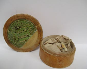 Vintage Tooth Powder Wooden Jar, Wood Teeth Paste Box, Wooden Dental Care, + Real Human Tooth