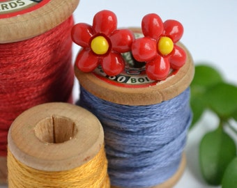 Red Flower Earrings on Surgical Steel Posts | Daisy Stud Earrings | LW Makes | SALE