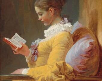 "Jean-Honore Fragonard : ""Young Girl Reading"" (c. 1770) - Giclee Fine Art Print"