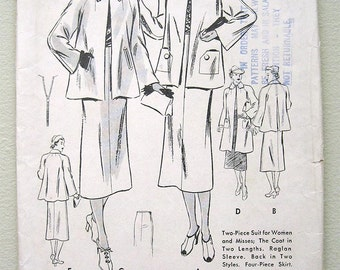 Vintage 30s Women's and Misses' Two piece Suit Butterick 7232 Sewing Pattern. Size 15
