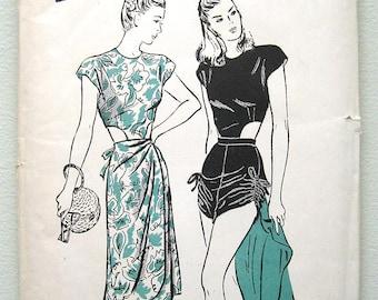 40s Butterick Pinup Playsuit, Midriff Cut-0uts Drawstring Bottom Sewing Pattern 3720. Size 14