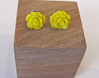 Yellow - Rose Flower Stud Earrings - Hypoallergenic