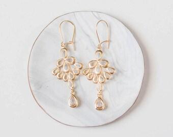 Blush Wedding Dangle Earring Gold Filigree Chandelier Earrings Champagne Wedding Bridesmaids Earrings Bridesmaid Gift Wedding Jewelry