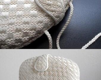 30% SALE - 80s vintage bag - cream soutache clutch off white bag - 80s Heavenly bag