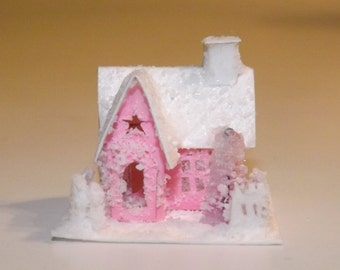 Vintage Putz Glitter Miniature Dollhouse Decoration-Handmade, Hand Cut Pink + White  One Inch Scale Winter or Spring Pink and White Cottage