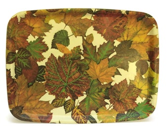 French Vintage Drinks Tray with Fall Leaf Decor. 1970s Retro Barware Fiberglass Serving Tray.