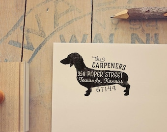 Dachshund Address Stamp - Weiner Dog Return Address Stamp - Dog Lover Gift - Rubber Stamp - Personalized Pet Address Stamp