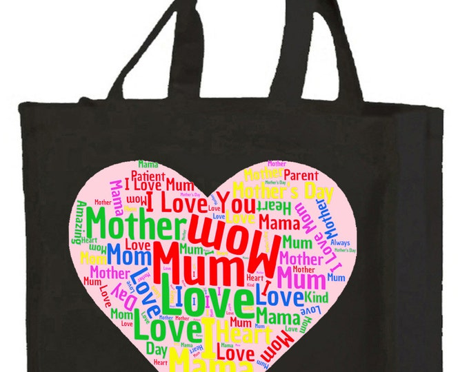 Mother Word Cloud Cotton Shopping Bag with gusset and long handles, Mother's Day, Birthday