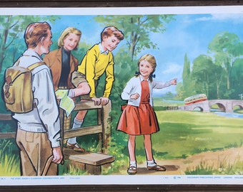 1966 vintage classroom poster: A Stroll in the Countryside