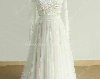 Off the Shoulder Flowy Aline Tulle Vintage Lace Wedding dress, destination wedding dress with Lace Bolero