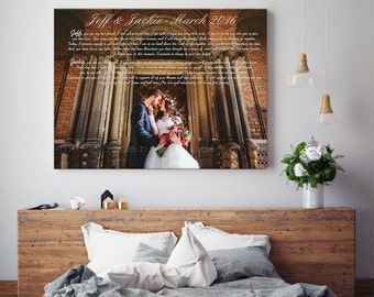 1st anniversary gift, anniversary gift, 5th anniversary gift, canvas print gift, wedding vows gift, wedding anniversary present, canvas gift