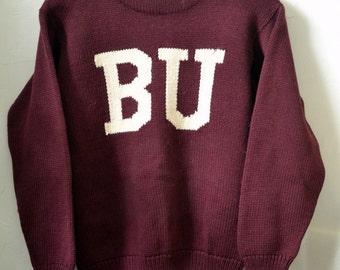 Vintage 1930s/1940s BOSTON UNIVERSITY McCARTHY MORRIS B.U. Wool Circle Knit Athletic Varsity Sweater Approximately Size S/M Small Medium