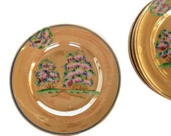 Set of 4 peach lusterware plates vintage porcelain hand painted saucers