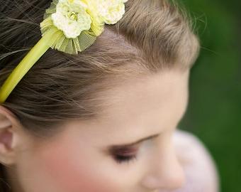 Bridal headband yellow crochet flowers