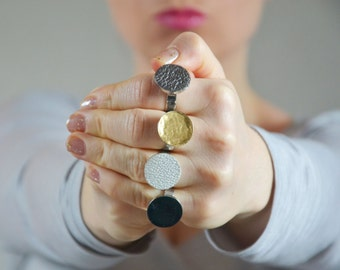 Round Leather Rings, Metallic rings, statement ring, adjustable ring, Gold ring, Silver ring, Black ring, colored leather ring, Gift for her