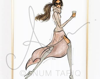 Fashion Illustration Print, Dusty Rose Coffee Run