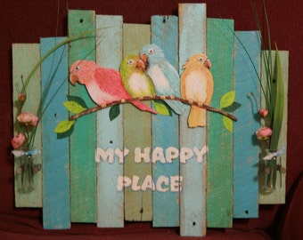 My Happy Place tropical colored lathe slat sign beach house decor coastal seaside cottage your happy place