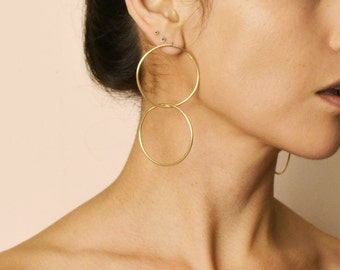 Oversized Gold Double Hoops
