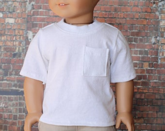 American Boy Doll Clothes - White BOY Short Sleeve Pocket T-SHIRT Tee Top for 18 Inch Doll such as American Girl Doll