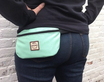Waterproof Bum Bag, Green Fanny pack , Eco friendly gifts ,handmade belly bag, cute fanny pack, opal bag,waist bag ,turquoise bag ,belt bag,