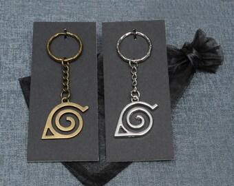 Naruto Hidden Leaf Village emblem keychain / keyring – Naruto cosplay prop accessory – bronze or silver