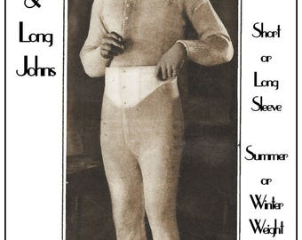 1920-30s Men's Long Johns and Vest Knitting Pattern – PDF Instant Download - Mens Underwear Pattern