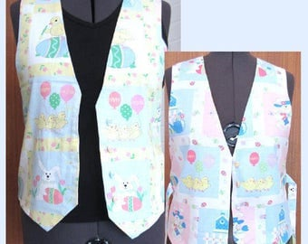 Vintage 90's Handmade Happy Easter Balloon, Easter Bunnies & Chicks Vest, Original Design Ladies Holiday Apparel Unique Easter Gift for Her