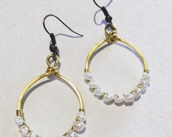 Freshwater Pearl and Brass Hoop Earrings