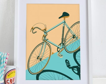 Bicycle, Bike, bikes, cycle isometric poster.   Wall Art Hanging Print Home Décor