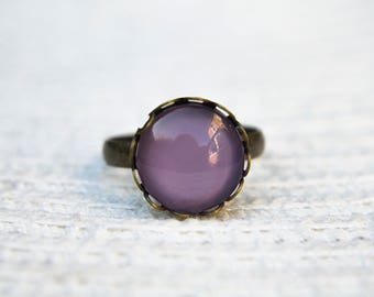 Purple Ring, Pastel  Ring, Lavender Ring, Statement Ring, Adjustable Ring, Antique Bronze Ring, Glass Dome Ring, Everyday Ring