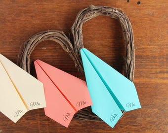 "One set of 100 Printed ""Mr. Mrs."" Paper Airplanes"